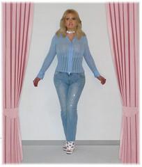 Old photo (Doroty Doll ♥) Tags: feet highheels dress mask legs platform crossdressing blouse tgirl mature heels corset secretary pantyhose crossdress unbuttoned lycra platforms bluse businesswoman doroty femalemask