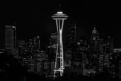 Seattle, dressed to the nines. (Michael Riffle) Tags: seattle city blackandwhite monochrome skyline night outdoors downtown cityscape skyscrapers clear spaceneedle kerrypark seattlecenter michaelriffle