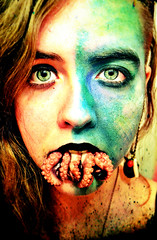 Not Your Kind Of Mermaid (Captain Nots) Tags: ocean fiction sea portrait color water colors face self mouth model eyes underwater magic makeup kind squid species mermaid creature octopi tentacles suckers mythical octorpus
