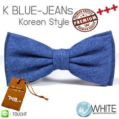 K-BLUE JEANS (Korean Style)  หูกระต่าย ผ้าบลูยีนส์ สีน้ำเงิน   3 จีบ Premium Quality
