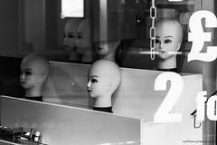 Head Shop (redfibres) Tags: street bw shop canon eos blackwhite heads shelves nottinghamshire mansfield ef70200mmf4lisusm 1000d
