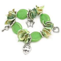 Paparazzi-Bracelet-Green-and-Silver-w-Shells