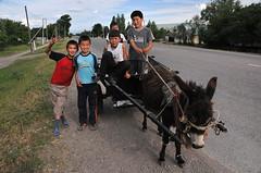 Usbekische Kinder mit Eselskarren