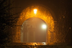 Open gate (ChrisBrn) Tags: light castle fog night gate