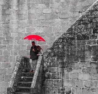 Paraguas rojo - Reto formato cuadrado