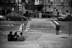 Waiting for something (LunaticDesire) Tags: barcelona street city blackandwhite bw white black cars architecture kids cat buildings spain nikon europe cityscape crossing exterior bcn streetphotography eu scene catalonia catalunya es dslr catalan espagna d40