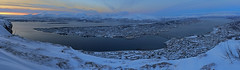 Panarama of Tromso, Norway at Dusk. (David Alexander Elder) Tags: cruise november panorama david norway circle lights norge search arctic mount elder fred alexander northern olsen tromso 2014 in storsteinen