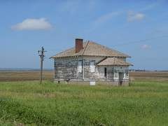 Abandoned schoolhouse and line (NDLineGeek) Tags: