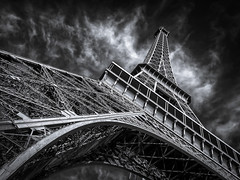 Eiffel in november sun (80D-Ray) Tags: city sky blackandwhite white black paris france monochrome seine clouds eiffel toureiffel parijs silverefexpro towereiffelotwer