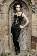 ‏Girl In A Doorway (saxman1597) Tags: portrait england woman girl beauty lady female costume yorkshire gothic goth whitby shortskirt blackpantyhose nikond80 nikon1855vr photoshopelements9 blacktightsandboots