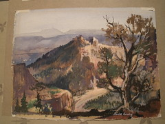 Louie Ewing - Beckers Butte - Painting - 1961 (Mike Leavenworth) Tags: vintage painting butte beckers silkscreen louie ewing becker serigraph