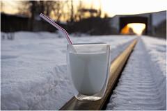 Au bout des lvres (SergeK ) Tags: life sun glass train canon 50mm soleil milk hiver perspective tracks lait ml vie verre paille lvres railles sergek defi3