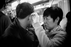 Metro life (Ordinary_Folk) Tags: life china leica white black film yellow underground 50mm glow shanghai metro streetphotography photojournalism documentary human metropolis cl journalism jupiter8 f20 humanistic mmount humanis