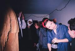 louise (Sydney K.) Tags: christmas camera party portrait people film college halloween girl person lights dance dancing dorm coke jacket diet vignette disposable