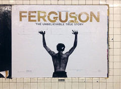 Hands Up (Poster Boy NYC) Tags: new york nyc boy white streetart black collage race subway poster death fight shot ad banner protest police missouri vandal fist cop murder shooting slogan handsup racist ferguson dontshoot michaelbrown