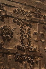 Old Door (lefeber) Tags: door wood nyc newyorkcity newyork architecture ancient iron interior worn weathered swirls artmuseum themet metropolitanmuseumofart scrolls strapping