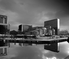 Grand canal dock/aka Silicon Dock (Wendy:) Tags: dublin reflection water photoshop boats mono google craft handheld barges sgm isgm barrowstreet grandcanaldock montevetro silicondock