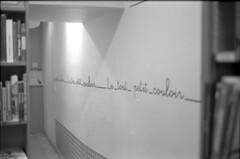 Petit couloir pour immense culture. (Polcaroid) Tags: blackandwhite bw film analog canon 50mm noiretblanc ae1 inside analogue toulouse couloir argentique librairie ngatif