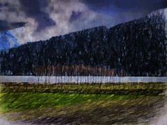 The Storm Front (Steve Taylor (Photography)) Tags: blue trees newzealand cloud brown mountain lake black cold green art digital landscape purple stormy nz southisland southernalps impressionist