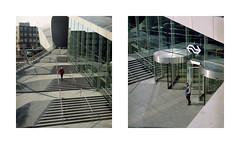 Arnhem (Jorkew) Tags: street door winter light people sculpture sun man streets 120 mamiya film glass station architecture mediumformat concrete design hall kodak steel candid arnhem central entrance 2006 120film z expired portra 67 centraal arnheim 128 rz67 160nc 110mm portra160 mediumformatfilm sekor cnetral nauralcolors