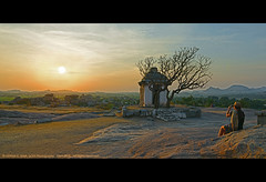 SILENCE IS GOLDEN. SO IS SOLITUDE... (GOPAN G. NAIR [ GOPS Photography ]) Tags: sunset clouds photography golden twilight solitude silence hour heavenly lonliness hampi lonley gops gopan gopsorg gopangnair gopsphotography