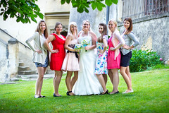 Wedding (michael24_cz) Tags: wedding girls portrait people color tree castle colors girl grass leaves stairs canon 50mm bride dress outdoor group ceremony bouquet bridal groupshot greengrass