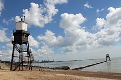 Dovercourt Leading Lights! (RiverCrouchWalker) Tags: uk greatbritain england sky beach clouds lowlight lighthouses essex highlight dovercourt causeway leadinglights countyofessex dovercourtrangelights