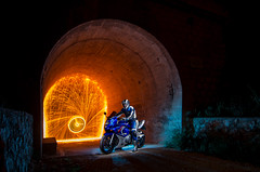LightMotos_8 (Suso Sinmiedo) Tags: blue lightpainting verde green azul alicante motorbike moto tunel agost pilito vaverdedelmaigm