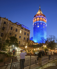 Galata tower in Istanbul,Turkey (Shahid A Khan) Tags: old city travel blue light people urban streets building tower heritage tourism monument wall architecture turkey square outside photography lights evening amazing ancient nikon european cityscape colours exterior view image symbol outdoor culture places landmark istanbul historic christian nighttime photograph d750 ottoman oriental eastern turkish byzantine touristic galata descriptivewords shahidakhan sakhanphotography wwwgalleryskcom