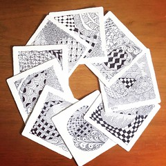 A week spent moving the studio from upstairs to downstairs meant going through way too much stuff. Tripped across these little bitty #zentangles dated from 2009! A happy rediscovery. I may need to start #zentangling again. Good meditation. #drawing #sketc (ModernPrintCraftLiz) Tags: zentangle zentangles sketching drawing textile design patterns modernprintcraft elizabethhalpern