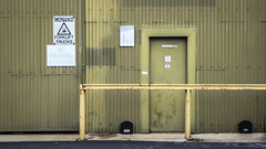 Whited Out (Theen ...) Tags: adelaide black boxes caution chapelstreet chubb door factory forklifttrucks green inwarehouse khaki lumix nosmoking paint patched security thebarton theen warning yellow