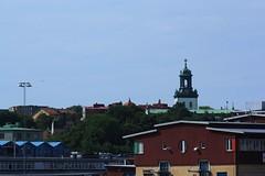 Carl Johan Church (blondinrikard) Tags: göteborg summer july 2016 sweden gothenburg sverige skyline karljohanskyrkan majorna harbor hamn church kyrka cross kyrktorn churchtower carljohanchurch