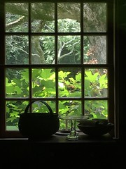 Through the Window of the Past (cliffordswoape) Tags: highway70 usa past frame cabin church presbyterian cumberland dickson burns tennessee trees bright green basket statepark montgomerybell history window