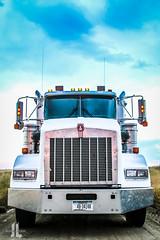 IMG_8673 (larzz4444) Tags: kenworth tractortrailer semi chester montana winterwheat chestermontana gleaner drylandfarming sweatgrasshills joplinmontana wheatharvest sunset