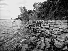 Retaining Wall (mswan777) Tags: wall erosion shoreline concrete blocks lake michigan weather water great lakes pilings nikon d5100 sigma 1020mm