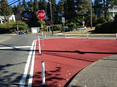 Squared up intersection connections with shorter crossings and one way revision at Endolyne Triangle. (Seattle Department of Transportation) Tags: seattle sdot transportation donghochang squared up intersection endolyne triangle paint red lowcost safety