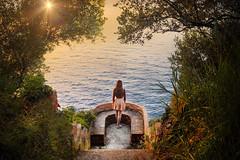 Paradise (Caterina Zito) Tags: girl sea landscape trees sunset sky looking flare sun palmi calabria selfportrait sole mare summer ocean sunrise beautiful wow redhead
