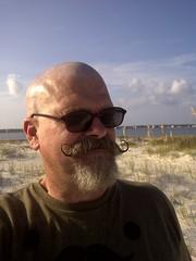 Pensacola-20110917-00137 (Handlebar53) Tags: beach sunglasses key florida outdoor bald cellphone headshot handlebar perdido vandyke