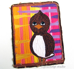 Happy Little Bird (JoMo (peaceofpi)) Tags: canada bird sewing fabric series artquilt rawedge peaceofpi