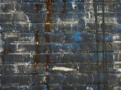 Writing on the Wall (Greyframe) Tags: old blue white black color brick texture sign wall lost paint place run surface crack drip weathered plains tar whiteplains