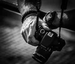 Adam's Canon (pootlepod) Tags: street camera light blackandwhite monochrome closeup photography hands watch canon600d stphotographia