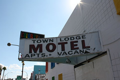 On The Town (Flint Foto Factory) Tags: city las vegas summer urban abandoned broken sign modern closed downtown apartments nevada letters motel september signage americana late vacancy outofbusiness midcentury 225 2014 colortv n7thst townlodge