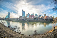 (Jared Ruschmann) Tags: bridge blue music color water clouds canon buildings nashville emotion bluesky fisheye 5d 40 markiii 815mm