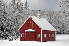 Country Barn in Bethlehem (Dave Trono) Tags: trees winter snow barn canon landscape garage country newengland newhampshire nh workshop weathervane trailer redbarn 2015 canonef24105mmf4lis countrybarn canoneos6d davetrono