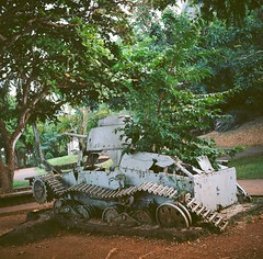Japanese Tank (bac1967) Tags: abandoned 120 tlr film japan last rolleiflex island japanese islands track tank post pacific kodak decay south tracks rusty off 100 mp northern command commonwealth crusty mariana surrender automat saipan micronesia ektar cnmi