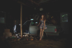 (yyellowbird) Tags: house selfportrait abandoned girl car illinois garage lolita cari dekalb