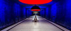 Illuminated (One_Penny) Tags: blue red urban panorama station architecture canon germany underground subway munich münchen bayern deutschland bavaria photography lights metro perspective illumination tunnel symmetry ubahn lamps publictransport 6d westfriedhof
