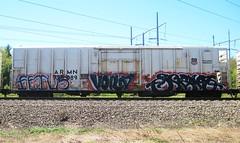 fetus - voila - script (timetomakethepasta) Tags: train graffiti fetus script freight reefer armn voila