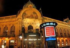 Art Nouveau in Prague: The Municipal House at night (Sokleine) Tags: architecture prague prag praha secession artnouveau czechrepublic municipalhouse maisonmunicipale