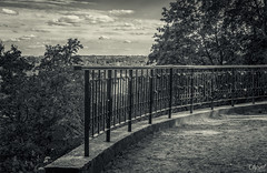 Same place, same time (grace.morgan100) Tags: park old trees sky white black love monochrome beautiful clouds fence mono view panoramic locks viewpoint lithuania vilnius verkiai